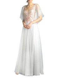 Basix Ii Embroidered Tulle Floor Length Gown Silver