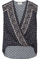 3.1 Phillip Lim Draped Wrap Effect Printed Silk Twill Top Navy