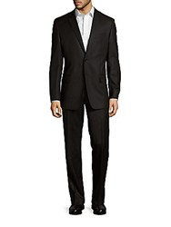 Versace Classic Fit Solid Wool Suit Black