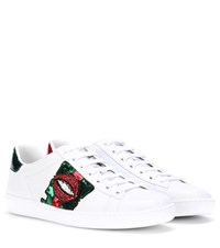 Gucci Embellished Leather Sneakers White