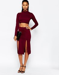 City Goddess Midi Skirt With Double Thigh Splits Purple