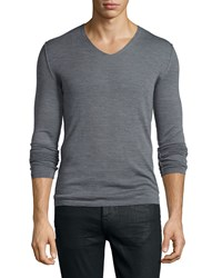 Cnc Costume National Long Sleeve V Neck Knit Sweater Gray Grey