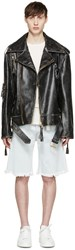 Off White Black Oversized Biker Jacket