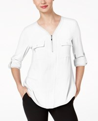 Ny Collection Zip Detail Utility Shirt Atlas Ivory
