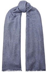Brunello Cucinelli Woman Frayed Sequin Embellished Cashmere And Silk Blend Scarf Light Blue