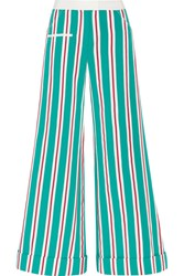 Rosie Assoulin Ribbon B Boy Striped Cotton Blend Grosgrain Pants Teal