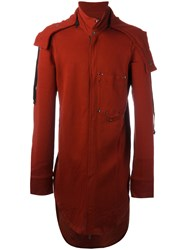 Ann Demeulemeester Hooded Coat Red