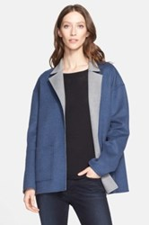 Nordstrom Signature And Caroline Issa Reversible Double Face Wool Swing Coat Blue