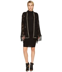 The Kooples Lace Kimono With Metal Stripe And Fringes Black Coat