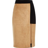 River Island Womens Tan Faux Suede Pencil Skirt