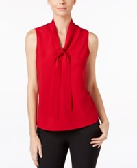 Kasper Tie Neck Blouse Fire Red