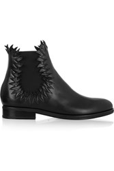 Alaia Flame Detailed Leather Ankle Boots Black