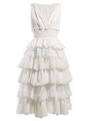 Dolce And Gabbana Lace Trimmed Tiered Dress White