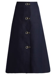 Marni High Waisted A Line Cotton Midi Skirt Navy