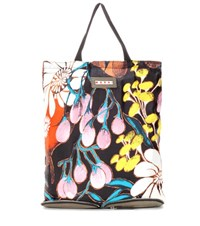 Marni Silk And Leather Convertible Shopper Multicoloured