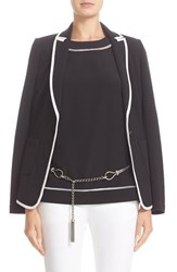 St. John Women's Collection Milano Knit Jacket With Crepe De Chine Binding