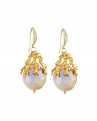 Indulgems Large Baroque Freshwater Pearl Drop Earrings White