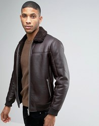 Barney's Barneys Faux Leather Bomber With Borg Collar Jacket Brown