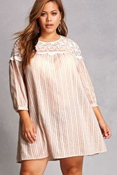 Forever 21 Tassels N Lace Striped Dress Taupe