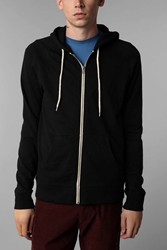 Bdg Speckled Raglan Zip Up Hooded Sweatshirt Black