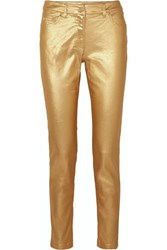 Moschino Metallic Coated Mid Rise Skinny Jeans Gold