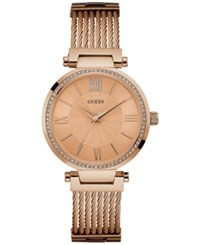 Guess Women's Rose Gold Tone Stainless Steel Cable Bracelet 36Mm U0638l4