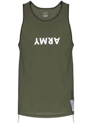 Satisfy Army Print Perforated Vest Green