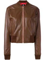 Paul Smith Ps By Sorbet Leather Bomber Jacket Brown