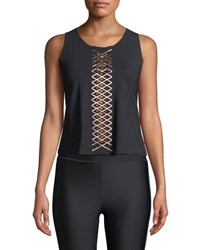 Ultracor Interlace Pixelate Racerback Active Tank Black Pink