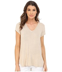 Bobeau Adley V Neck High Low T Shirt Oatmeal Women's T Shirt Brown