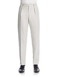 Carven Single Pleat Virgin Wool Trousers Light Grey