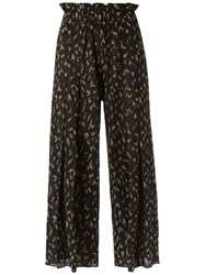 Gig Wide Leg Crop Knit Trousers Women Polyester Viscose Pp Black