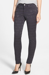 Vince Camuto 'Aztec' Jacquard Skinny Jeans Black Orchid