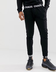 D Struct Slogan Tape Cuffed Skinny Joggers Black