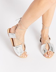 Asos Flying Home Leather Lace Up Flat Sandals Silver