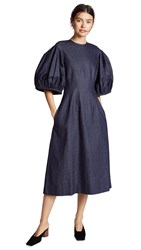 Edit Balloon Sleeve Dress Indigo