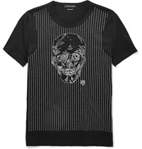 Alexander Mcqueen Slim Fit Skull Embroidered Cotton T Shirt Black