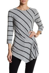 Vince Camuto 3 4 Sleeve Stripe Side Ruched Blouse Gray