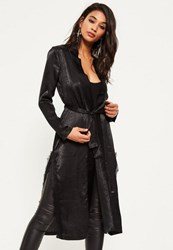 Missguided Black Satin Lace Applique Kimono Jacket