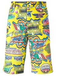 Moschino Printed Knee Length Shorts Yellow Orange
