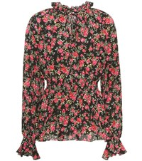 Dolce And Gabbana Floral Printed Silk Blouse Multicoloured