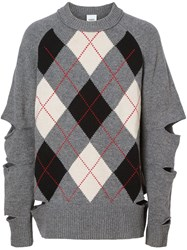 Burberry Cut Out Detail Merino Wool Cashmere Sweater Grey