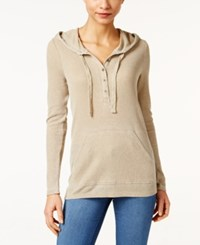 G.H. Bass And Co. Hooded Henley Top Dusty Taupe