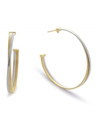 Marco Bicego Masai Large 18K White And Yellow Gold Hoop Earrings