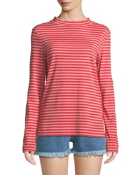 Mih Jeans Emelie Striped Long Sleeve Cotton Top Red Pattern