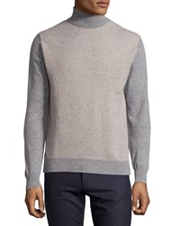 Luciano Barbera Cashmere Colorblock Turtleneck Sweater Beige Gray
