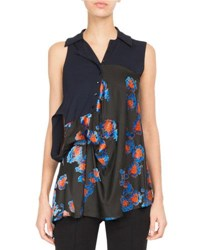 Atlein Floral Jersey Double Sleeve Top Black Pattern