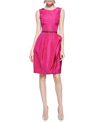 Oscar De La Renta Full Skirt Silk Dress Magenta Pink