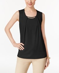 Jm Collection Pleated Embellished Top Only At Macy's Deep Black