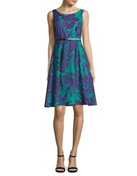 Maxmara Studio Tropical Print Flared Dress Turquoise